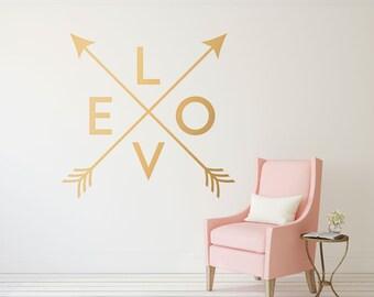 Gold Arrow Wall Decal   Crossed Arrows Love Wall Decor   Love Wall Decal    Gold