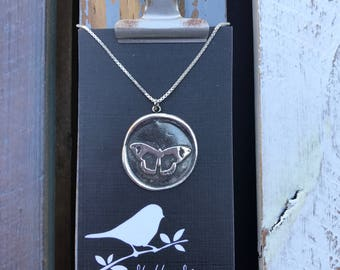 Butterfly Silver Wax Seal Stamp Necklace