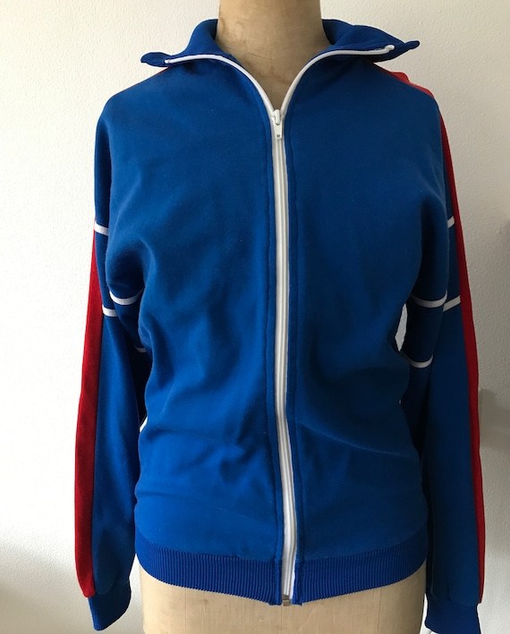 Vintage German Sieger '84 blue with red and white sports jacket, size M