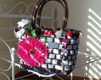 White and brown girls handmade pompom handbag