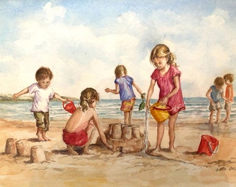 Children playing on the beach original watercolour