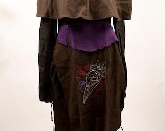 Black purple leather skirt bird skull larp evil dark enchantress armor battle fantasy costume game of thrones necromancer warcraft pagan sca