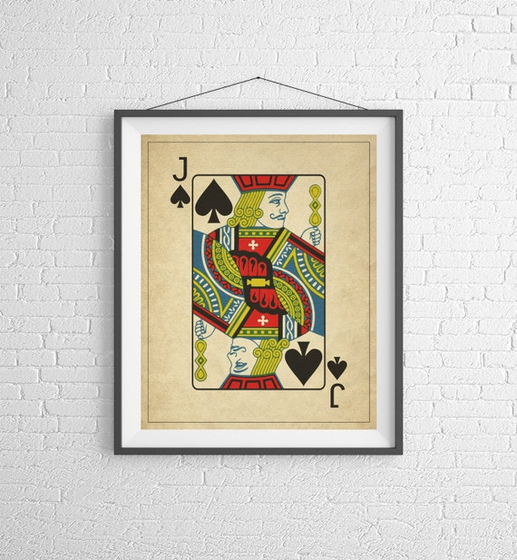 Jack of Spades Playing Card Art Game Room Decor Game Room