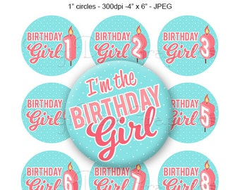 Birthday Girl Candles Bottle Cap Images, 1 Inch Circles Digital JPG - Instant Download - BC1125