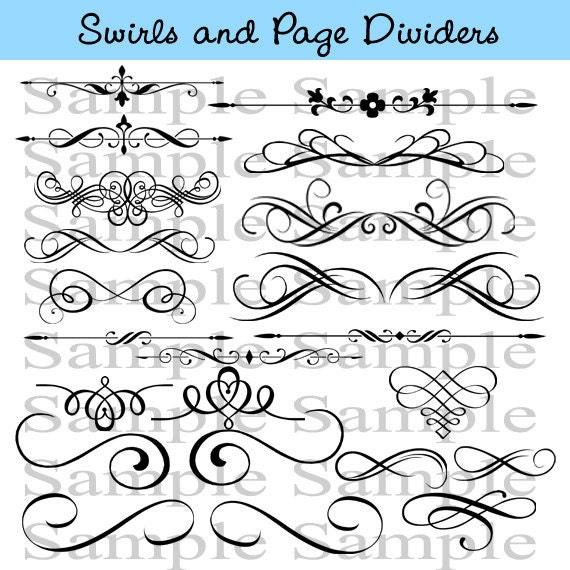 Swirls Wedding Clipart INSTANT DOWNLOAD Calligraphy Design