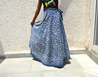 Indigo skirt Floral print Cotton Wrap around Skirt Block Print Summer long Skirt