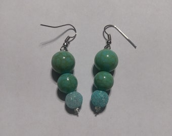 Turquoise and glitter drop earrings