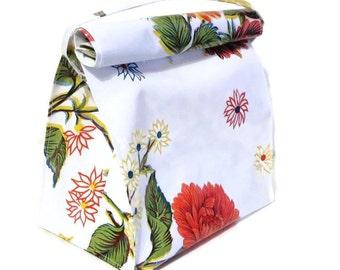 Bag,Lunch,Snack,Oilcloth,White,Floral,Handbag,Strap,Vintage,Handmade,Style,Reusable