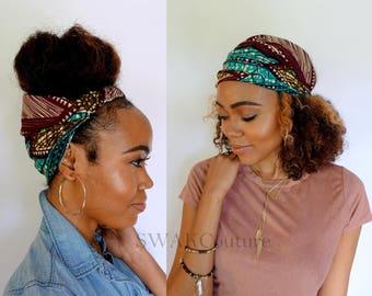 Satin Lined Headband Wide Headband Wrap Pineapple Bun Wrap Ankara African Print Wrap Turban - Olive Dynasty or Choose Print