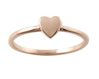 14k Gold Tiny Heart Stacking Ring - Valentines Day Gift Idea. 14k, 18k Yellow, Rose, White Gold, Platinum. Wedding & Anniversary Jewelry