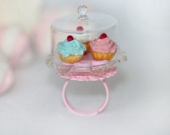 Cupcake Ring - Marie Antoinette ring - Sweet Lolita Accessories - Lolita Fashion Ring - Kawaii Ring -Miniature Food Jewelry - Mini Food Ring