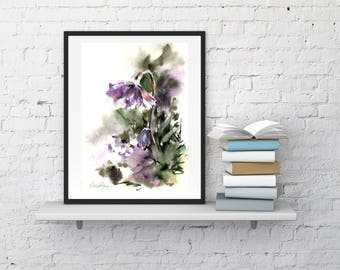 Abstract Botanical Original Watercolor Painting, purple flowers and green leaves painting, abstract realism botanical modern floral painting