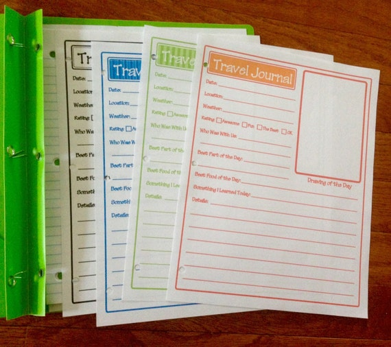 Kids Travel Journal Pages Template Printable Vacation Memories