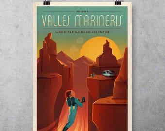"Solar System planet Mars Travel Poster ""Valles Marineris"" - Vintage - Design-HD Poster-NASA JPL"