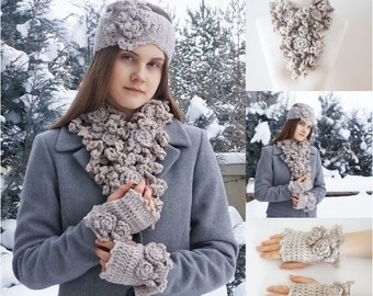 Rose Onie Scarf, Ear Warmer and Hand Warmers in Sandstone, READY TO SHIP, choose which pieces you want, hand painted merino wool