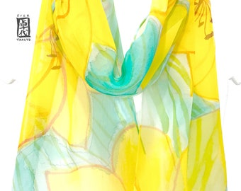 Hand Painted Silk Scarf, Chiffon Scarf, Scarf Women, Yellow Scarf, Yellow Silk Scarf, Green Silk Scarf, Yellow and Green Lily Scarf, Takuyo