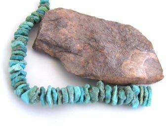 Rough Rustic Organic Crusty Turquoise Graduated Heishi Rondelle Strand -  6.5  inches