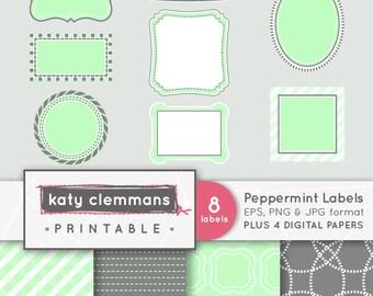 PEPPERMINT LABELS digital clip art with digital paper pack. Printable label images, patterns, scrapbook art - instant download.