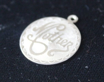Vintage Mother Charm Sterling Silver Pendant Mother's Day Gift For Mom Circle Charm Round Mother's Day Charm Gift for your Mother