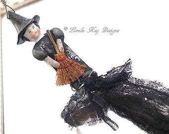 Tiny Witch Necklace Wearable Art Doll Mixed Media Halloween Pendant or Ornament