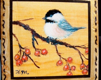 Orange Berry Chickadee Tile with Easel