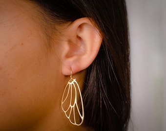 Wing Earrings - Large Extra Light Gold Butterfly Wing earrings - Angel Wing Earrings - Insect Wings