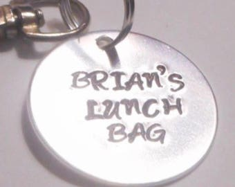 Lunch bag tag, hand stamped custom name tag, school tag for book bag, name tag, key clip, bag clip, gift giving, identity tag, name