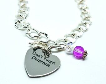 Dementia bracelet, purple bracelet, Dementia jewelry, Alzheimer's jewellery, charity bracelet, dementia awareness bracelet.