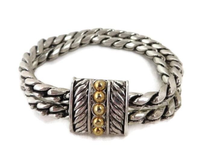 Braided Bracelet, Vintage Bracelet, Double Strand, Two Tone Bracelet, Signed SP Bracelet