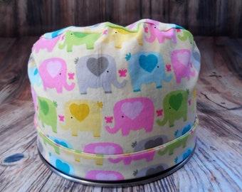 Women's Pixie Style Scrub Hat (Colorful Elephants)