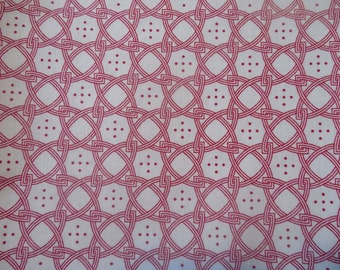"""SALE 1 Yard 20"""" Red and White Five Dot Fabric by the Yard"""
