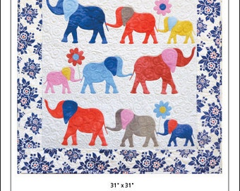Heffalumps Wall Quilt Pattern, Elephant Quilt