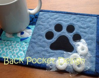 Dog or Cat Paw Print Recycled Denim Mug Rug Quilted Coaster