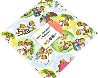 """Berenstain Bears WELCOME To BEAR COUNTRY 10"""" Layer Cake Fabric Quilting Squares Moda 55500LC"""
