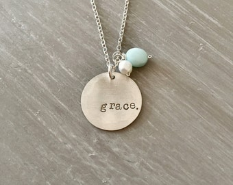 Grace Necklace Hand Stamped