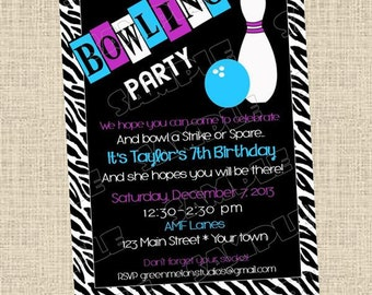 Bowling birthday party printable invitation any colors UPrint customized card by greenmelonstudios