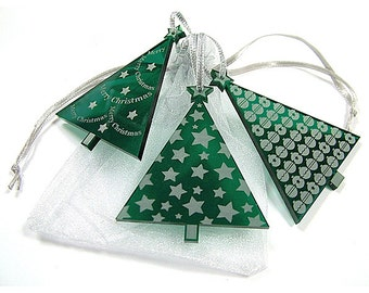 Engraved Christmas Tree Decoration  - Festive Trees -  set of 3 -  laser cut - Christmas Decor  - Made in England.