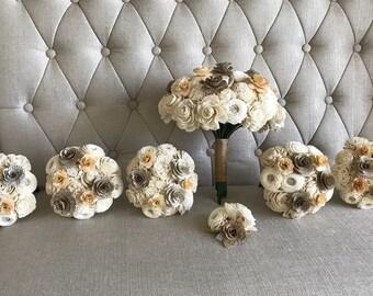 Book Page Flower Bouquet - Sola Flower Bouquet - Wedding Flowers - Bridesmaid Bouquet - Home Decor - Wooden Flowers - Wedding - CB1013