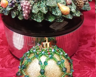 Sparkly Christmas Beaded Ornament Cover,Beaded Ornament ,Christmas balls,decorative ornament for christmas , xmas beaded ornament