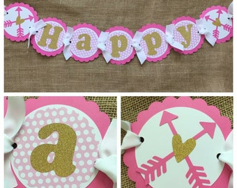 Boho Birthday Banner, Wild and Three Birthday Banner, Hearts and Arrows  Party Banner, First Birthday Banner, Pink and Gold Birthday Decor