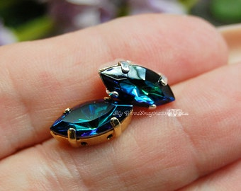 Bermuda Blue Vintage Swarovski 15x7mm Navette With Setting Crystal Sew On Craft Supplies Jewelry Making
