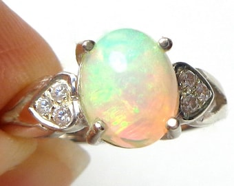 sz 7, Welo Opal Ring,Natural Gemstone,Sterling Silver Ring,CZ Heart Design,Ethiopian Opal Ring,Sweetheart Ring,Fine Jewelry,Promise Ring