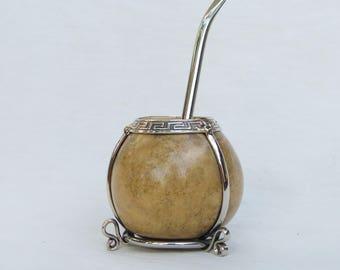 Set of mate and bulb miniature/mate and straw set, for yerba mate tea miniature