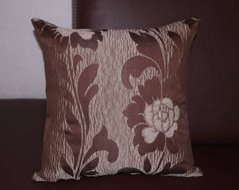Cushion cover brown flowers patterns
