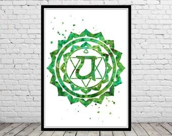 Heart chakra, watercolor chakra, anahata chakra, chakra Print,  chakra wall art, chakra poster, spiritual, yoga, reiki, zen, love (2815b)