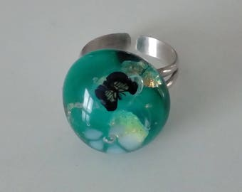 Silver ring: Lampwork Glass Butterfly -