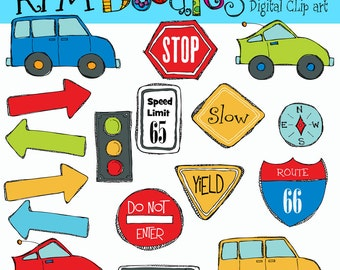 KPM Road Trip Digital Clip Art and stamps COMBO
