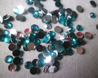 x 100 bright blue Peacock color rhinestone Crystal facet sticking 3 mm