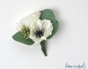 Anemone Boutonniere, Silk Boutonniere, Groom Boutonniere, Groomsmen Boutonniere, White Boutonniere, White and Black Boutonniere, Button Hole