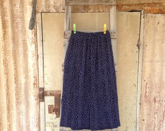 70s Skirt, Vintage 1970s, Skirt, Skirts, Vintage skirt, women skirts, Womens skirt,  Dark Blue Polka Print Vintage Skirt Size L-XL , Dots